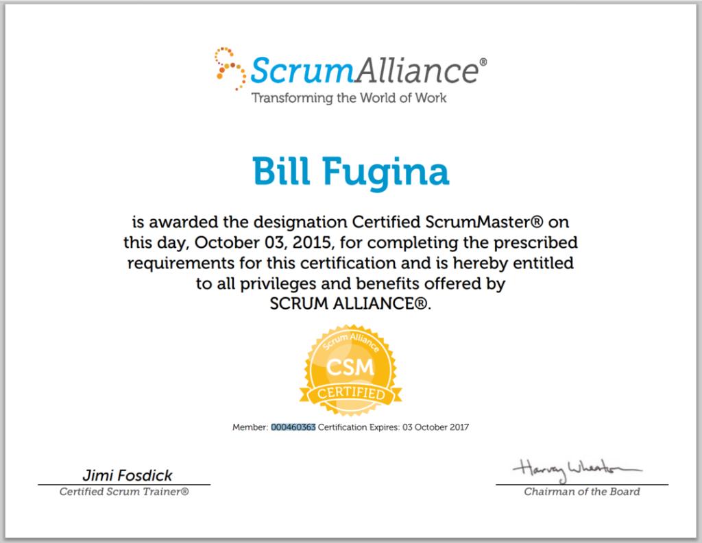 Dogspotscertified scrummaster dogspots scrumalliance csm certificate 1betcityfo Images